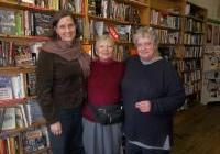 Author Cecile Pineda, Pam Kleiss of PSR WI and Bonnie Urfer of Nukewatch at Rainbow Bookstore