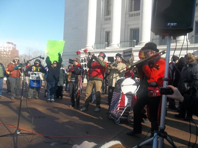 Forward Marching Band playing at the Save Our Water - No Unsafe Mines rally at the Capitol, January 26, 2013
