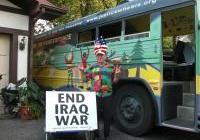 The bus - riding along with the 'Witness Against War'