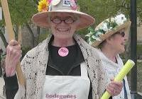 Nan Cheney - co-founder of WNPJ - marches on May Day, 2009