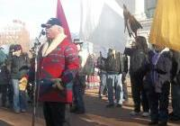 Ken Fish, Menominee Tribal member, speaking at the Save Our Water - No Unsafe Mines rally at the Capitol, January 26, 2013