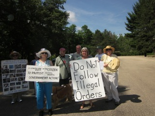 Drone protesters at Volk Field / Camp Williams - July 2013